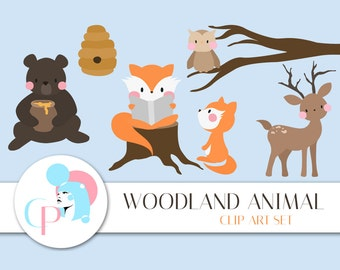 Woodland Animals Clip Art Set - Set of 15 - Forest Clip Art - Cute Woodland Animal - Woodland Clipart - Clipart - Scrapbook