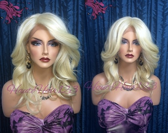 Bleach Blonde Feathered Medium Lenght Human Hair Blend Lace Front wig