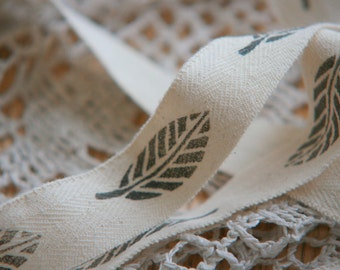 Hand Stamped Vintage White Cotton Ribbon with Black Leaves