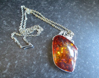 Faux Amber Necklace, Cognac Baltic Amber, Amber Pendant