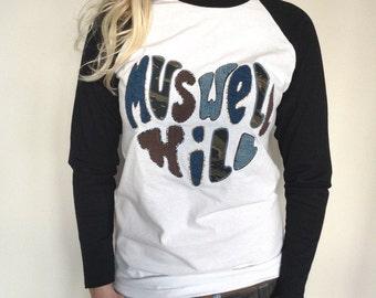 Muswell Hill Heart Appliqué Long Sleeved Tee Baseball Top Shirt Men Women