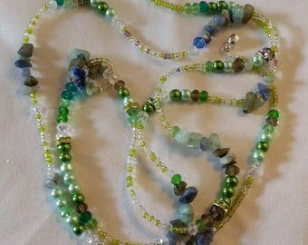 Unique Handmade necklace bracelet Boho Style Summer Wear 48 inches Long Semi Precious Stone Chips