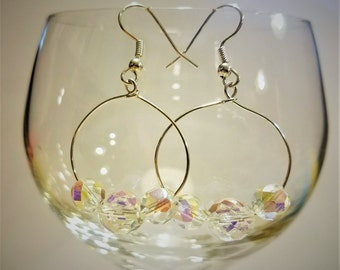 Clear Sparkle Dangle Hoop Earrings, Sparkle, Silver, Gifts for Her, Bride, Valentine,  Mom.