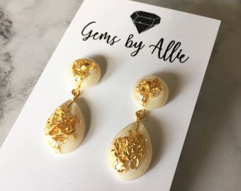 Handmade Statement Resin Drop Earrings - White & Gold Leaf