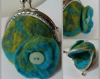 Green and blue wet felted coin purse
