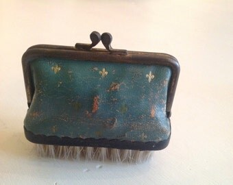 Vintage 1940s Leather Sewing Kit and Clothes Brush dark turquoise
