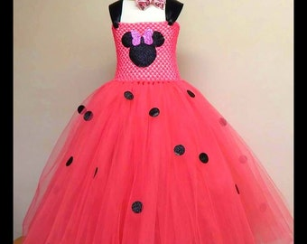 Minnie Mouse Tutu Dress - Minnie Mouse Outfit - Minnie Mouse Dress - Disney Dress - Pink Tutu - Birthday Party Dress - Full Length Pink Tutu