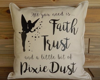 Pixie Dust Pillow Cover 16x16 Tinkerbell Pillow Disney Home Decor Disney Gift