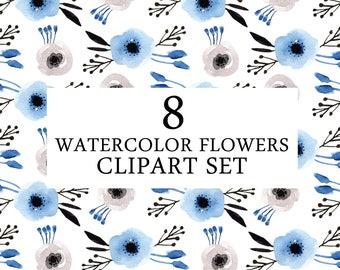 Blue Flowers Clipart Set   Watercolor Clipart Set