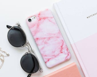 iPhone Case - Pastel Pink Marble - iPhone SE Case, iPhone 6 Case, iPhone 7 Case, Marble iPhone Case, Pastel Pink iPhone Case, Gloss iPhone