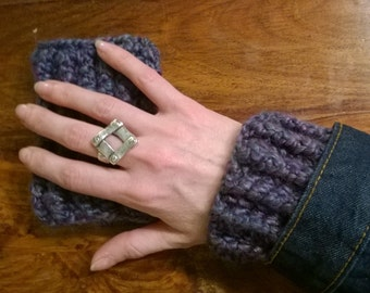 Wrist warmers - Fluorite; purple gloves; wrist warmers; made in Alaska; layering; crochet; arm warmers; cuffs; chunky wrist warmer; purple