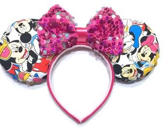 Minnie Mouse Ears Inspired Handmade - Mickey Mouse Ears Inspired - Donald Duck Mouse Ears Inspired - Disney Inspired Mouse Ear Headbands