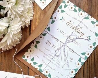 Printable Wedding Invitation Set | Printable Wedding Invitation Suite | Digital Invitation | Vintage Wedding Invitation Suite | Gold | Green