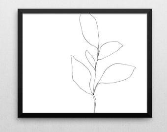 Black & White Wall Art Print, Minimalist Poster, Line Drawing, Instant Download, Plant Print, Botanical Print, Scandinavian Print
