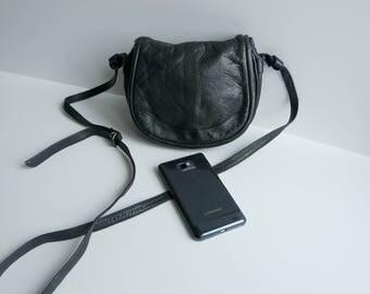 Vintage Small Leather Crossbody Bag, Black Leather Shoulder Bag, Festival Bag