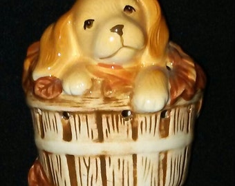 1980s Avon Puppy Dog in basket ceramic potpourri holder