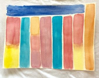 Random and Bright, original watercolor painting, 11x15 painting, large wall art, bright colors, playroom art, abstract painting