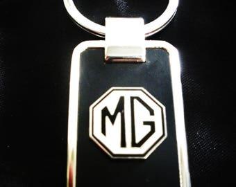 MG Black Onyx & Silver Keychain-Free Engraving
