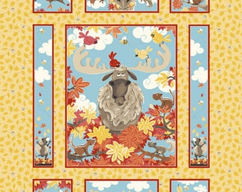 "Bruce the Moose Quilt Panel 36"" from Susybee SB20250-325 - juvenile susy bee cotton woven fabric children kids squirrels orange yellow"
