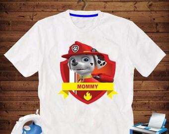Mommy Marshal Paw patrol Iron on transfer printable, High Resolution 300 Dpi