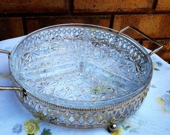Crystal Diamond Cut Divided Platter