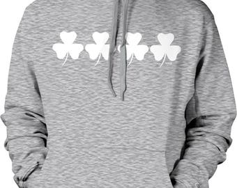 Shamrocks, 3 Leaf Clovers, St Patrick's Day Hooded Sweatshirt, NOFO_00942