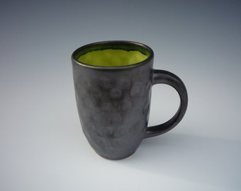 stamped metallic grey mug with a glossy chartreuse liner (4 1/2 in h x 4 3/4 in w)