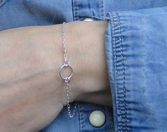 Circle Bracelet Karma Bracelet Dainty Circle Bracelet Sterling Silver Eternity Bracelet Daily Gentle Bracelet Gift for Women Gift for Friend