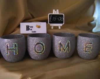 Glittered HOME Tealight Set
