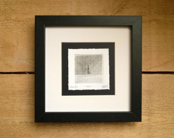 Grantre (fir in norwegian) with frame, etching