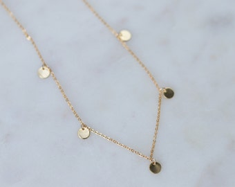 Dainty Gold Coin Necklace - Layering Necklace - Gift For Her - Bohemian Jewelry - Gift for Wife - Minimalist Jewelry - Charm Necklace