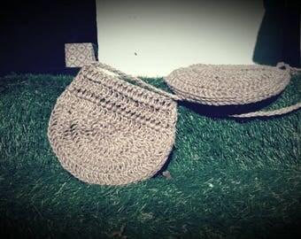 crochet shoulder bag, hemp