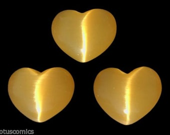 Lot of 3 Puffy Heart Yellow Fiber Optic Cats Eye Glass Pocket Sized Hand Carved