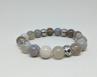 Agate shades of gray bracelet