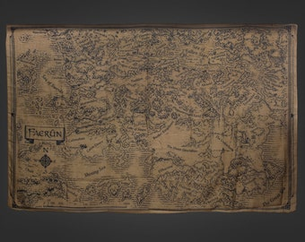 Dungeons and Dragons Scarf Cloth Map of the Forgotten Realms Sword Coast