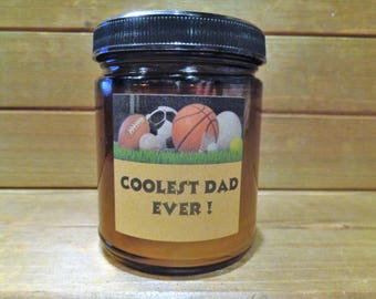 Personalized custom 8 oz  beeswax scented candle/coolest dad ever/custom candle/dad candle