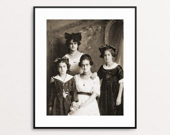 Photo of Frida Kahlo and Her Sisters Taken by their Father, Guillermo Kahlo, 1916 - Frida Kahlo Photograph - Frida Kahlo Wall Art Print