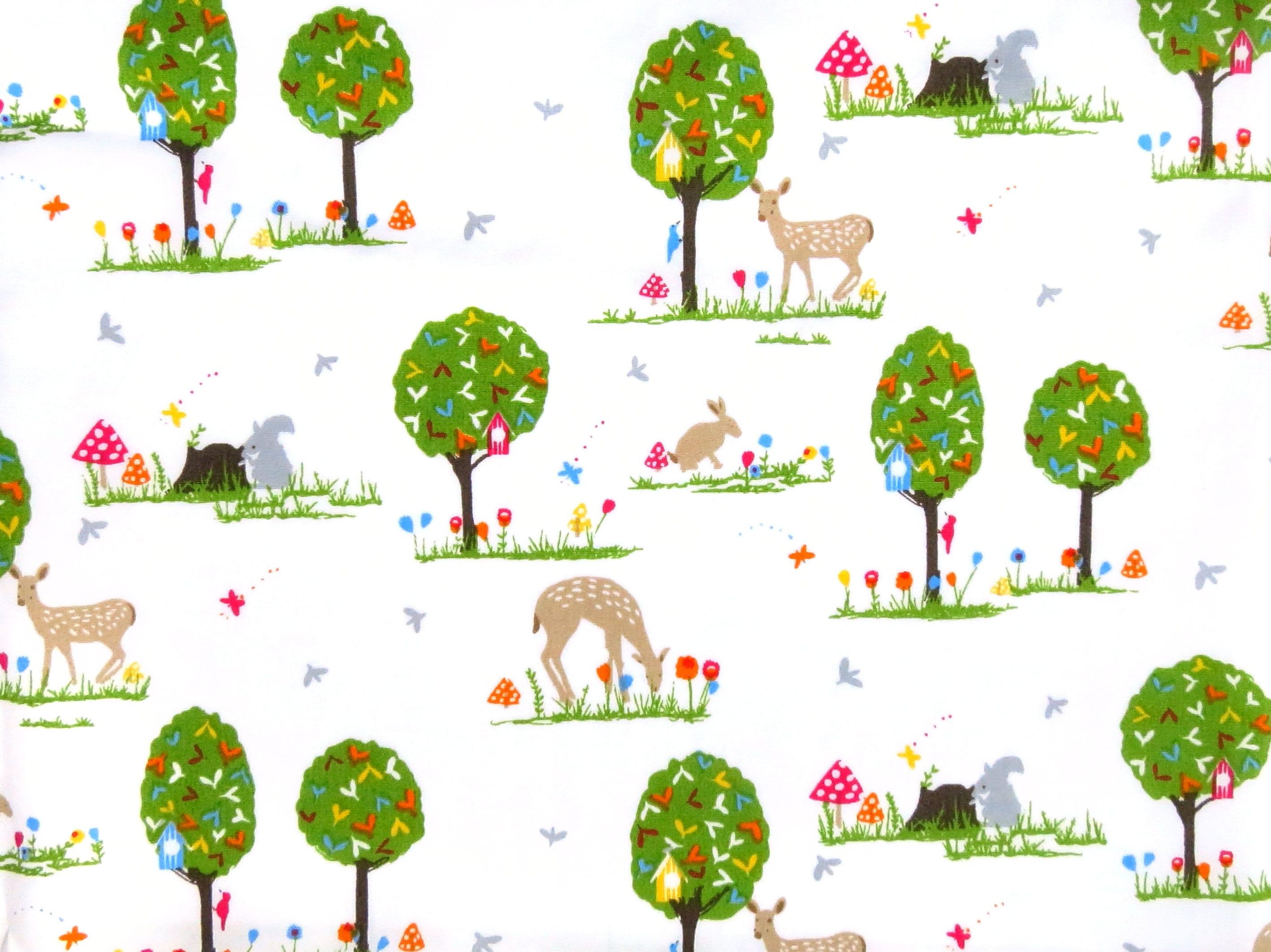 Woodland fabric deer fabric woodland animal fabric for Childrens animal fabric