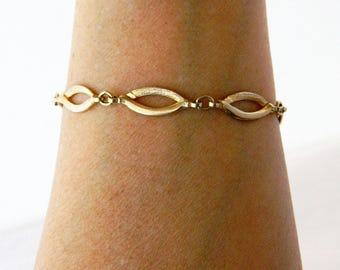 "Vintage Sarah Coventry Chain Link Bracelet 7.5"", Delicate Bracelet, Gold Tone, Signed, Retro Bracelet"