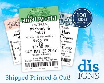 Fast Pass Disney Ride Save the Dates (CUT AND PRINTED! – Available as Magnets!)