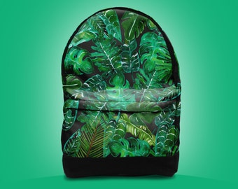 SALE!  Tropical leaves backpack bag