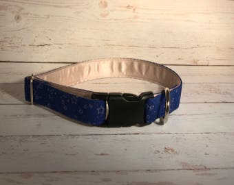 MADE TO ORDER- Blue with White Stars Dog Collar, Choose width- Buckle or Martingale- add Embroidery and/or Leash