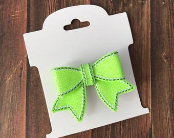 Lime Green,  Glitter, Hair Bow,  Hair Clip, Embroidered, Black Ribbon Covered  Alligator Clip, Toddler, Baby, Choose Left or Right Side