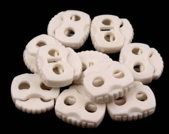 20x20mm white 10 cord Stoppers with 2 holes