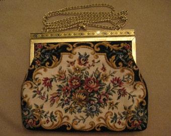 Low Shipping Charge Un Used Vintage 1960's Tapestry Evening Bag Handbag Enamel Gold Tone Metal Edge Gold Tone Metal Shoulder Strap