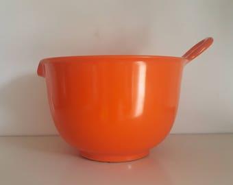 ira Denmark Mixing Bowl - 2.5 Litre - Alf Rimer - 1960s - Vintage Melamine - Mod Panton Kartell Era - Hot Orange - Mepal Rosti