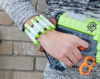 "Nerf Gun Bullet Dart Holder Wrist-Band Rambo Bandolier Adjustable Size from 6""-7.5"" wrist"