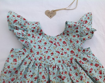 Girls flutter sleeve dress, baby dress, toddler dress, floral dress, summer dress, flutter sleeve dress, duck egg blue
