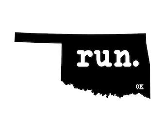 Run OK State Outline Magnet