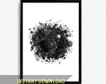 Libra constellation art, Zodiac libra print, Astrology wall art, Libra gift, Printable constellation, Black and white watercolor print